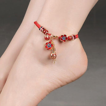 Red Floral Style Anklet Jewelry - My Aashis