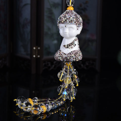 Ceramic Buddha Crystal Beads Lucky Charm For Handbag Door wall