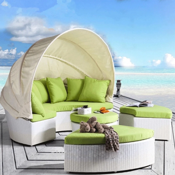 Intimate Luxurious Outdoor Rattan Daybed With Canopy Attached - My Aashis