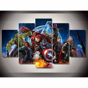 Brilliant HD Movie Avengers Poster Five Panel Wall Art