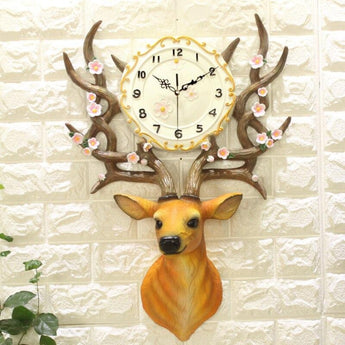 Pastoral Style Resin 3D Deer Head Wall Clock