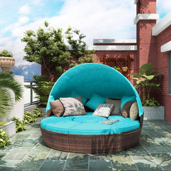 Retractable Canopy Attached Round Outdoor Sofa Set - My Aashis