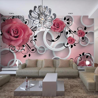 3D Modern Stereo Relief Flower Circle Photo Wallpaper - My Aashis