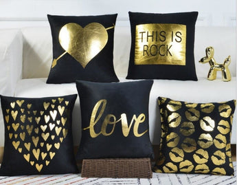 Black & Gold Love Theme Cushion Covers