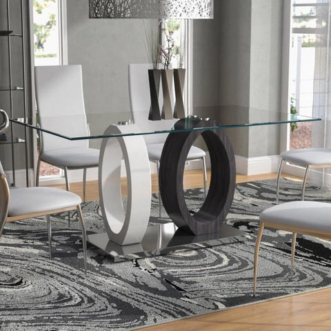 Oval Base Glass Dining Table - My Aashis