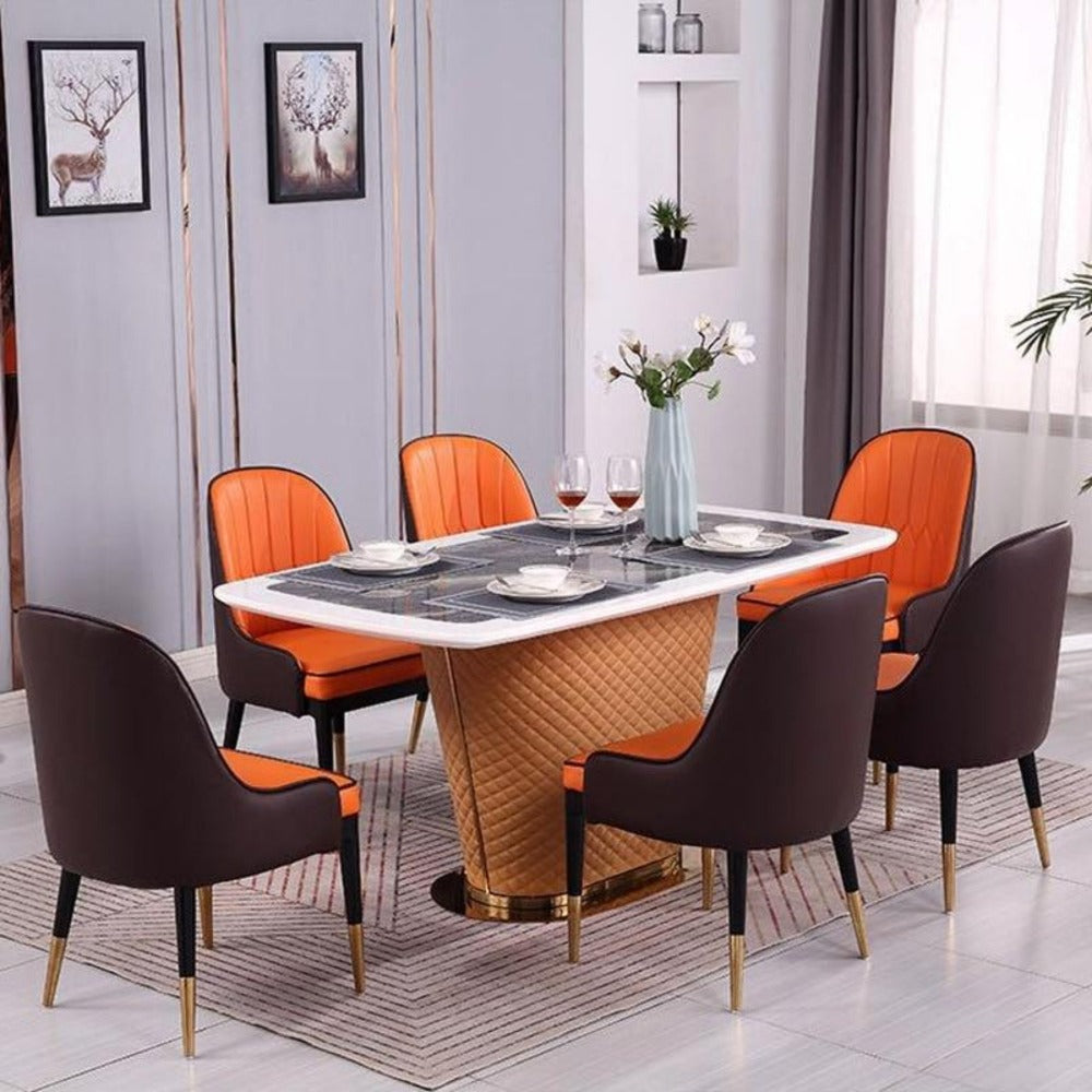 Rectangular Gracious Dining Table and Latest Chairs With Marble Top
