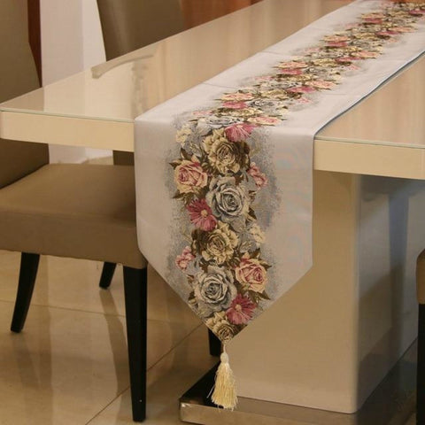 Polyester Rose Floral Table Runner - My Aashis