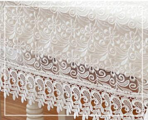 White Embroidered Lace Tablecloth 150*220cm Rectangle - My Aashis