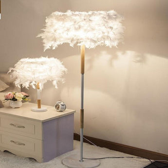 Pretty  Feather Designed Table & Floor Lamp