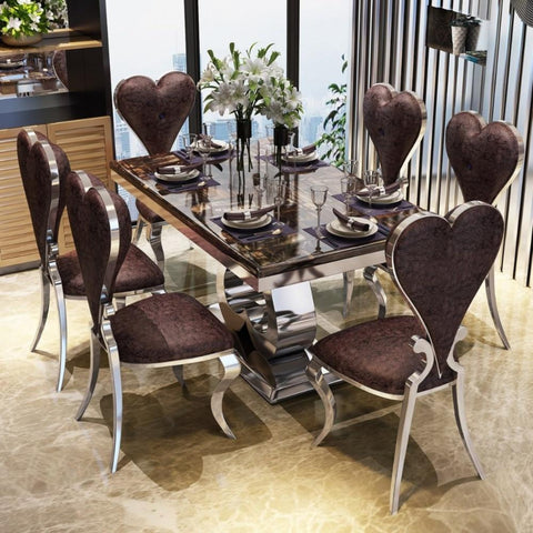 Bright Luxury With Heart shaped  Chair Dining Set - My Aashis