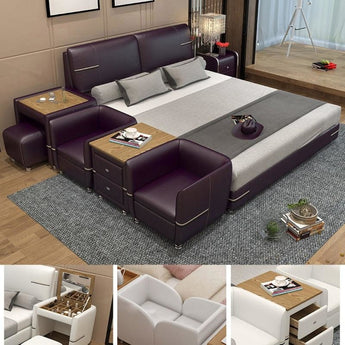 Comfortable Soft Bed with Dresser Stool made of Leather - My Aashis