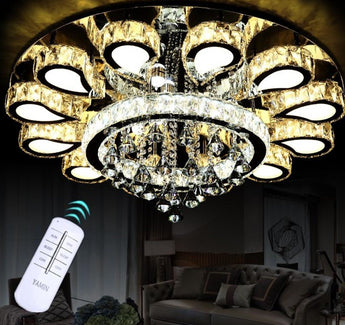 Brilliant Unique Luxury Lustre Cristal  LED Round Chandelier - My Aashis