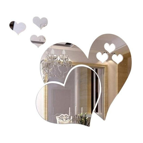 3D Heart Shaped Mirror Finish Wall Stickers - My Aashis