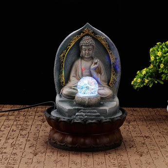 Resin Zen Indoor Buddha Fountain With LED Light - My Aashis