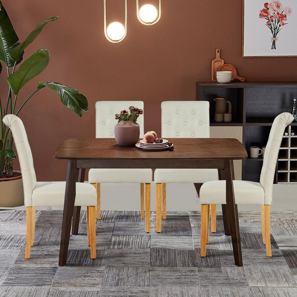 Fabric Upholstered Tufted Dining Chair With Wooden Legs My Aashis