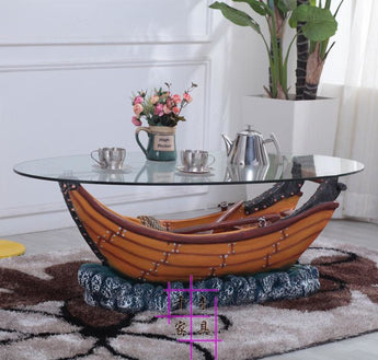 Ship Style Antique Glass Coffee Table - My Aashis
