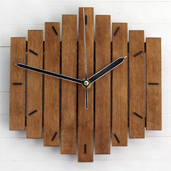 Mute Wooden Bars  Wall Clock For Decor - My Aashis