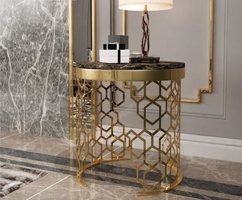 Golden Frame Antique Designed Side Table