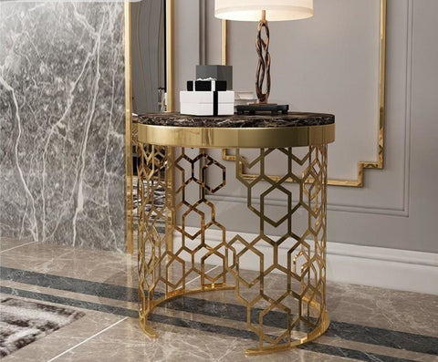 Golden Frame Antique Designed Side Table - My Aashis