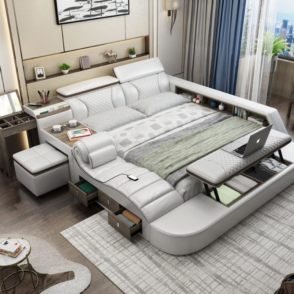 Modern Day Comfortable Smart Bed With Massager Stool And Storage My Aashis