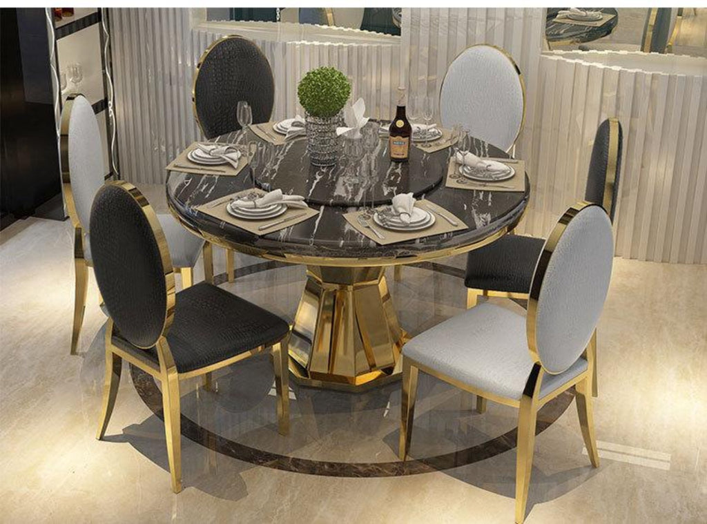 Golden Round Marble Top Dining Table With Luxury Chairs