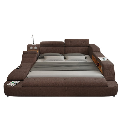 Multifunction Soft  Fabric Bed Frame Furniture With Speaker Massage And Storage Box - My Aashis