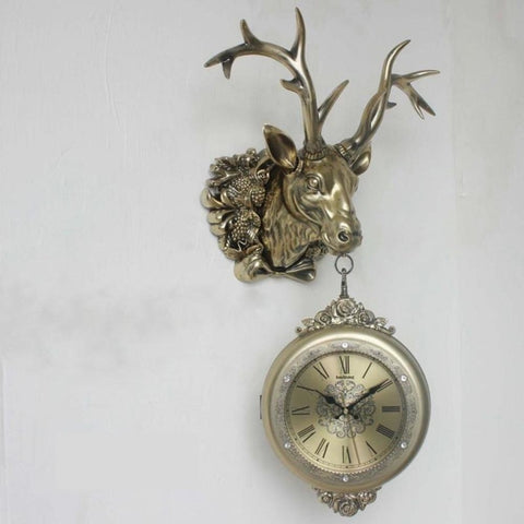Retro European Double-Sided Deer Head Wall Clock - My Aashis