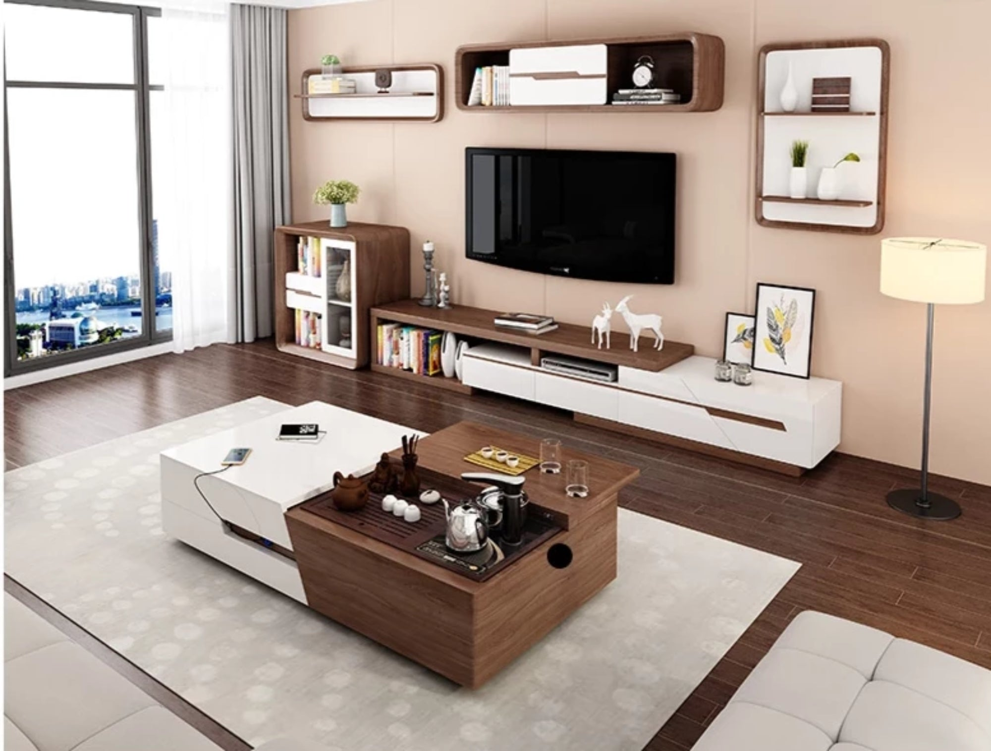 Modern Brown Finish Tv Stand Coffee Table My Aashis