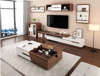 Modern  Brown Finish  TV  Stand & Coffee  Table