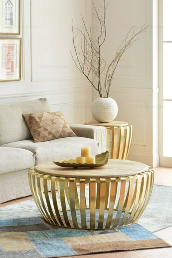 Golden Round Bars Coffee Table With Marble Top