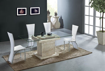 Decorative  Rectangle Shaped Precious Glass Top  Dining Table