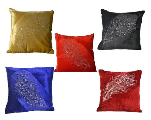 Set Of 5 Multi Color Velvet Cushion Cover
