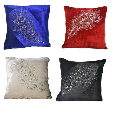 Set Of 5 Multi Color Velvet Cushion Cover - My Aashis