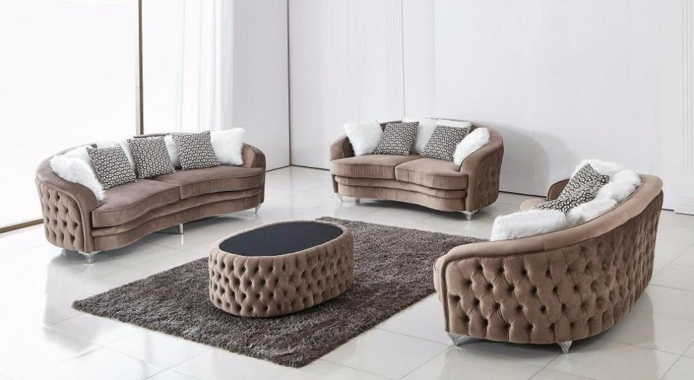 Swell Luxury Velvet Sofa Set With Ottoman Gmtry Best Dining Table And Chair Ideas Images Gmtryco