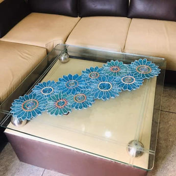 Blue Floral Designed Glitz Decorative Table Runner - My Aashis