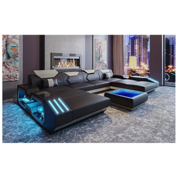 Stylish  Led Light Black and Orange Boldn Finished Sofa Set