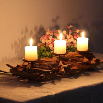 Vintage Style Wooden Candle Holder - My Aashis