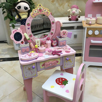 Royal Princess Pink Wooden Dresser Toy With Make-Up Set