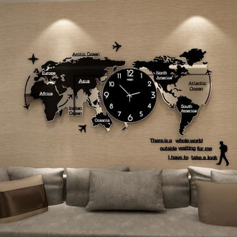 3D Antique Quartz World Map Wall Clocks - My Aashis