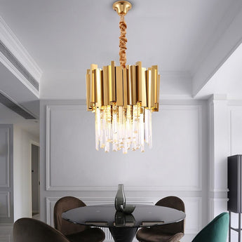 Luxury Gold Metal Bars Modern Crystal Chandelier - My Aashis