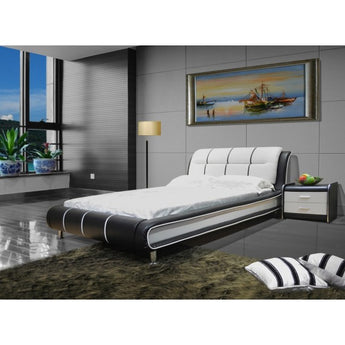 Modern Leather Two Tone Platform Bed