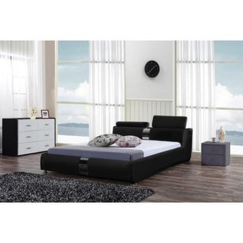 Leather Black Platform Bed