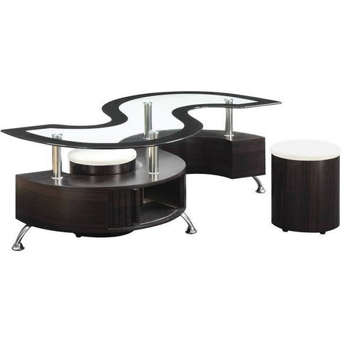 Stylish S Shaped Glass Top Coffee Table - My Aashis