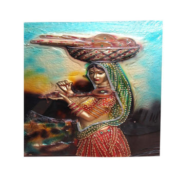 3D Village Girl Oil Painting