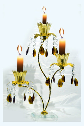 3-Light Vintage Gold Metal Candelabra Wedding Centerpiece Candle Holder - My Aashis
