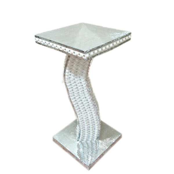 Large silver mosaic vase mirror glitter sparkle glass plant stand side table centerpieces