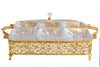 4 Compartment Style Snacks Metal Gold Tray Fruit Box With Cover - My Aashis