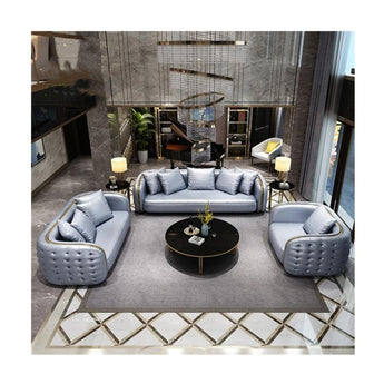Attractive 1+2+3 Living Room Leather Sofa Set - My Aashis