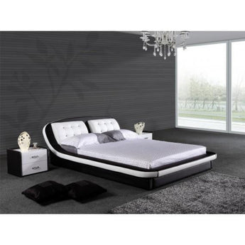 Luxury Leather Black And White Platform Bed