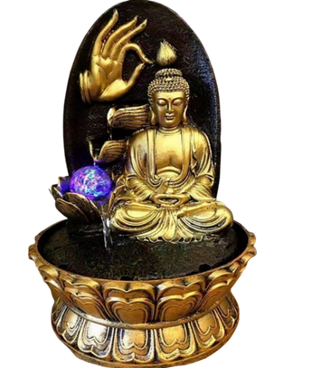 Golden Buddha With Rock Background Water Fountain - My Aashis